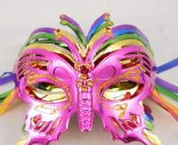 Wholesale princess mask for children - 2016 NEW Halloween mask children masquerade mask coloured drawing or pattern plating butterfly princess coloured hot