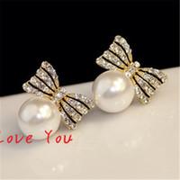 Wholesale White Pearl Costume Jewelry - Sweet Pearl Earring Korean Crystal Bowknot Earrings for Women Fashion Stud Earrings Wedding Party Costume Elegant Jewelry Bijoux Femme