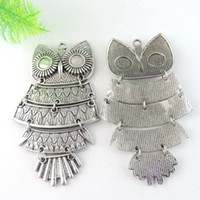 Wholesale Antiqued Silver 8mm - Fashion 2PCS Antiqued Silver Alloy Joint Connection Owl Fit 8mm Created Diamond Charms Pendant 39003 jewelry making