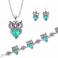 Wholesale Owl Earrings China - wholesale free shipping Turquoise owl Inlaid Turquoise Necklace Earrings bracelets Set fashion jewelry sets TS0002