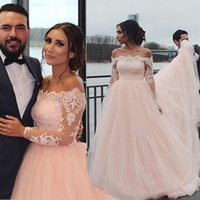 Wholesale cheap black abayas - 2017 Light Pink Illusion Long Sleeves Wedding Dresses A Line Off Shoulder Long Arabic Kaftan Abayas Cheap Vestios Summer Beach Bridal Gowns