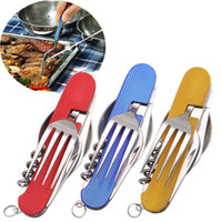 Wholesale Tableware For Camping - 6 in 1 Folding Stainless Steel Spoon Fork Knife Tableware Multi Tool for Camping Outdoor SC033