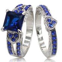 925 ringe blaues herz großhandel-Größe 5-11 Platin vergoldet 925 Sterling Silber Blue Sapphire Hochzeit Verlobungsring Set Herzform Cluster Cocktail vorschlagen