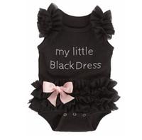 çocuklar için siyah tutuş toptan satış-Avrupa Amerikan 2016 Yeni Doğan Bebek Giysileri Kız Çocuklar Romper Kız Dantel Tutu Benim Küçük Siyah Elbise Bebek Giysileri Tırmanmaya Gizli Bodysuits 9409