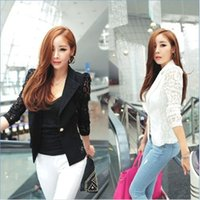 Wholesale Sexy Long Sleeve Outwear - NEW Fashion Sexy Sheer Lace Patchwork Blazer Coat Lady Suit Outwear Women OL Formal Slim Jacket Black White Plus Size S-3XL