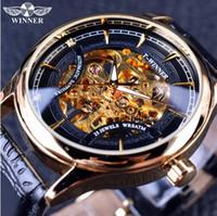 Wholesale Winner Mens Hand Wind Watches - Winner 2017 Fashion Black Golden Star Luxury Design Clock Mens Watch Top Brand Luxury Mechanical Skeleton Watch Male Wrist Watch