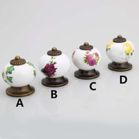 Wholesale red cabinet handles - vintage style pumpkin ceramic drawer cabinet knobs handle rural purple yellow green red rose porcelian dresser knobs