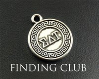 Wholesale Greek Letter Charms Wholesale - 15pcs Antique Silver Greek letter EAT round Charm Pendant Jewelry Making DIY Handmade Craft 20mm A1288