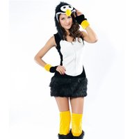 Wholesale Penguin Fancy Dress - High Quality Sexy Penguin Villus Adult Costume Naughty Animal Cosplay Fancy Dress Halloween Black Penguin Costume W349008