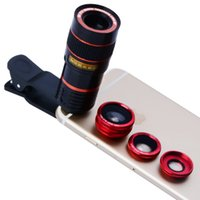 Wholesale Lens Tele - Universal 8x telephoto Zoom Phone Lens Tele Fisheye Wide Macro Camera Lens Kit For iPhone 6 6S Plus 5 Samsung S7 S6 APL-19CX3