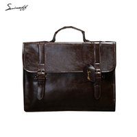 Crocodile original documents - SMIRNOFF New Original Design Male vintage bag Package Male document bag Box Men Casual Shoulder Men Briefcases