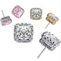 Wholesale Earring Studs Square - High Grade Silver Stud Earrings Hot Sale CZ Diamond Square Crown Earrings for Women Girl Party Gift Fashion Jewelry Wholesales - 0380WH