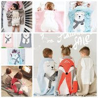 Wholesale Fox Bedding - Newborn Baby Blanket Cartoon Fox Bear Rabbit Ear Quilt For Bed Sofa Wool Blanket Newborn Photography Props Baby Blanket Swaddling KKA3264