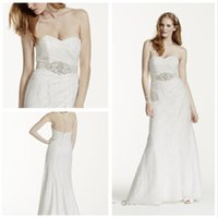 Wholesale Wedding Dress Ruching Beaded - 2016 Lace Sheath Wedding Dresses Sweetheart neckline with pleat bodice and beaded sash WG3263 side drape and subtle ruching detail gowns