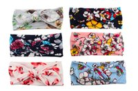 Wholesale bunny band online - Girls Headbands Floral Flowers Bows Baby Bohemia Cotton turban Knot Head Bands Children Bunny Rabbit Ear hairbands hair accessories KHA456