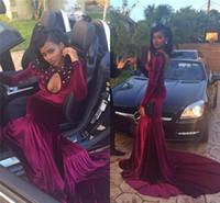 vestidos de terciopelo negro de manga larga al por mayor-Velvet 2k16 negro Girl Prom Dresses 2016 ojo de la cerradura con cuentas Sexy manga larga vestido de noche sirena árabe africano formal vestidos de coctel