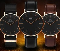 Wholesale Leather Womens Watches Brown - New Mens womens Wellington watches 40mm Men watches 36 Women Watches Luxury Brand Famous Quartz Watch Female Clock Relogio Montre Femme