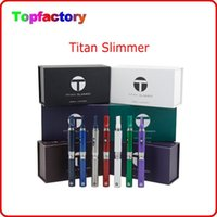 Wholesale White Slim Electronic Cigarette - Genuine Titan Slimmer Dry Herb Vaporizer Kit Electronic Cigarette Kits Replaceable Atomizer Coil 7 Colors Available VS Snoop Dogg Pen Kit