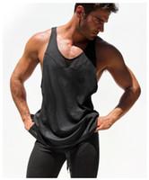 мужские спортивные синглеты оптовых-Wholesale-Breathable Mens Net Tank Male Summer Sports Shirt Sleeveless Transparent Tops Gym T-shirt Man Fitness Vest Singlets Muscle Top