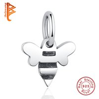 Wholesale Silver 925 Bee - BELAWANG Christmas Gift 925 Sterling Silver Pendant Beads Animal Bee Charm fit Pandora Bracelet&Necklace for Women Accessories Wholesale