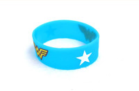 Wholesale Blue Wonder Blueing - HOT 50x DC hero Wonder Woman Silicone Bracelet Blue cartoon wristband Fashion jewelry cosplay costume accessories Children Party Gift