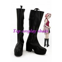 Wholesale Custom Ninja Costume - Wholesale-Freeshipping anime Naruto Haruno Sakura Cosplay Boots shoes high heel version Ninja custom-made for Halloween Christmas