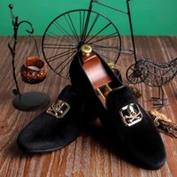 Wholesale China Red Bottom Shoes - Harpelunde Skull Buckle Party Shoes Mens Black Custom Velvet Loafers China Wholesale Shoes Red Bottom Free Drop Shipping Size 7-14