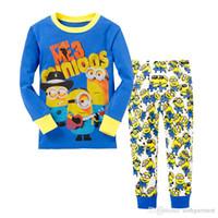 Wholesale Minion Baby Pajamas - 6 sets Wholesale-High quality minions baby boy pajamas ME3 winter style baby boy clothes long-sleeved Pyjamas cartoon pattern pijamas