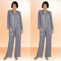 Wholesale Cheap Classy Wedding - Classy Gray Mother Of Bride Pant Suits Jewel Neck Cheap Sequined Wedding Guest Dress With Long Sleeves Jacket Chiffon Mothers Dresses