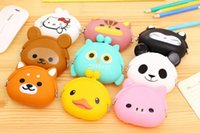 Wholesale Japanese Cute Wallets Women - Free shipping 100pcs Cute Mini key Wallet bag Women Silicone Coin Purse Japanese Candy Color lovely Animals Jelly Silicone Coin bag