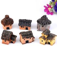 Wholesale Miniature Fairy Cottage - 500pcs 6 Styles Cute Fairy Garden Miniature Mini Stone House Craft Micro Cottage Landscape Decoration For DIY Resin Crafts ZA0707