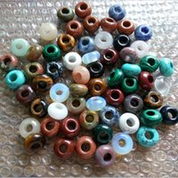 ingrosso perline di qualità-14 * 7mm Lotti naturali pietra preziosa gioielli tondi perline Perline sparse di alta qualità 5mm Big Hole Fit Charms Bracciale europeo