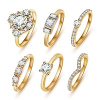 Wholesale Girls Sapphire Ring - Wholesale-(6pcs  set) Hot Shiny 18K Gold Crystal Austrian Zircon Rings Set Noble Charms Wedding Rings For Women Girls Sapphire Jewelry