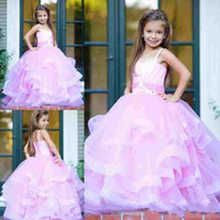 Wholesale Kids Simple Gowns - Simple Cheap Pink Girl's Pageant Dresses Christmas 2018 Spaghetti Strap Tiered Layers Ball Gown Flower Girl Gowns Kids Birthday Party Wear