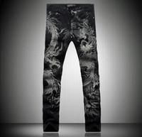 Wholesale Dragon Men Tie - 2016 Sales Top 3D Graphic Lucky Dragon Skinny Jeans Mens Vintage Hiphop Casual Designer Tiger Denim Joggers Punk Pants mix order