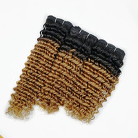 Wholesale blonde curly hair - 3 Bundles Deep Wave T B Honey Blonde Ombre Hair Colored Brazilian Curly Hair Peruvian Indian Human Hair Weaves