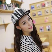 Wholesale Ny Flat Brim Caps - Spring Summer parent-child NY Baseball Sun Hat Striped Canvas Hip Hop Caps Korean Couples Flat-brimmed Snapback Big Brim Cap