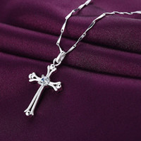 Wholesale Christian Jewelry For Women - 18K White Gold Plated Big Cubic Zirconia CZ Christian Crucifix Cross Chain Pendant Necklace for Women Fashion Jewelry