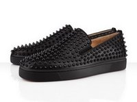 Wholesale Full Slip 46 - New mens womens black genuine leather full spikes red bottom sneakers,brand top quality design loafers flats causal sports shoes 36-46