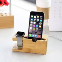 Wholesale Dock Charger Station 4s - Wholesale-100% Natural Wooden Charging Dock Station Charger Stand Holder For Apple Watch For iPhone 6 6S Plus 5 5S 4 4S Desktop Holders