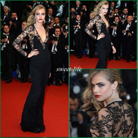 Wholesale Premiere Silver - Cara Delevingne Sheer Top V-Neck Long Sleeves Black Lace Celebrity Evening Dresses For Great Gatsby Premiere At Cannes Red Carpet Prom Gowns