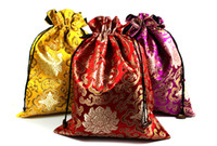 Wholesale Wood Shoes Storage - Reusable Portable Jacquard Silk Brocade Shoe Pouch Bag Travel Decorative Storage Pack Protective Cover Drawstring Gift Packaging Bags