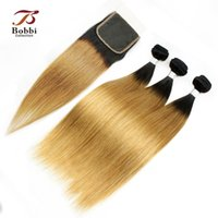 Silky Straight Colored Peruvian Hair Ombre Cheveux humains T1b 27 Dark Root <b>Honey Blonde Extensions</b> Ombre Hair 3 Bundles avec dentelle Fermeture