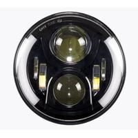 Wholesale Halo Bulbs Headlights - New H4 LED Motorcycle Headlight Bulbs With Halo LED Headlamp High Low Motos Light Bulbs For Harley Motorcycle 7inch Led headlamp