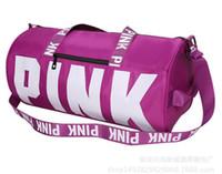 Wholesale Korean Style Casual Large Handbags - Makeup Women Handbags Pink Letter Large Capacity Travel Duffle Striped Waterproof Beach Bag Shoulder Bags
