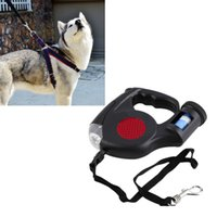 Wholesale Cartoon Harness - 4.5M Automatic Dog Lead Retractable Dog Leash Pet Traction Rope Chain Harness Dog Collar Pet Products 3 LED Lights Garbage Bag