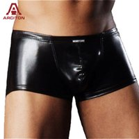 Wholesale Leather Shorts Underwear - Wholesale-2015 High Quality Artificial Leather Underwear Men Sexy Boxers For Men Cool Boxer Shorts Min Order Free Shipping(N-288)