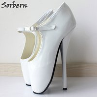 """Wholesale Hot Pink Club Heels - BDSM Hot Sale Extreme High Heel 7"""" Spike White Shiny Patent PU Leather Dress Shoes BALLET Fetish Night Club High Heel Ballet Shoes"""