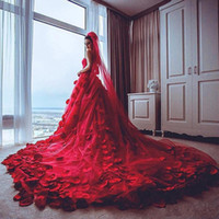 Wholesale Amazing Red Roses - Amazing Red Wedding Dresses 2017 Sweetheart Tulle Chapel Train Rose Petals Decals Applique Bridal Gowns Backless Wedding Dresses Custom Made