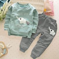 vêtements mignons bébé éléphant achat en gros de-Nouveau design mignon mode bébé filles garçons éléphant haut à manches longues blouse + animaux long pantalon 2pcs / set costume bébé vêtements